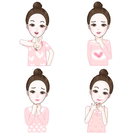 korea girl: Character  fet of cute girl in different pose portrait