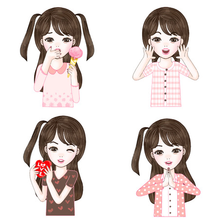 Character fet of cute girl in different pose portrait
