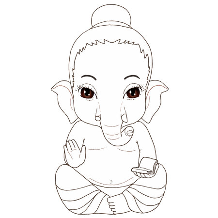 Ganesha sitting pose cartoon Character