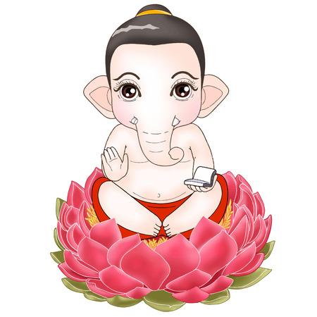 Ganesha zitten pose cartoon Character
