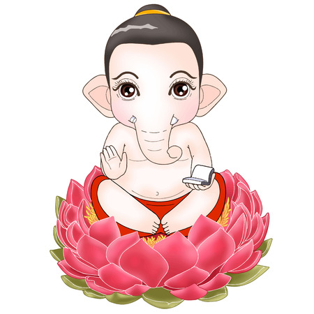 Ganesha sitting pose cartoon Character