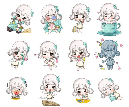 Charactor fet of cute girl in different pose portrait 일러스트