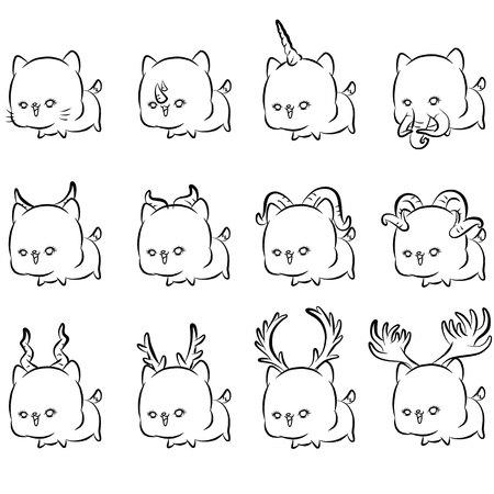 Set of different kind of animal's horn design Illusztráció