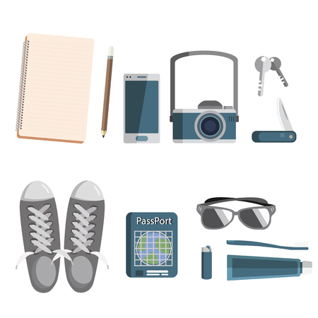 Set of stuff for traveling icon vacation time