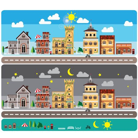 Infographic city town home flat design vintage