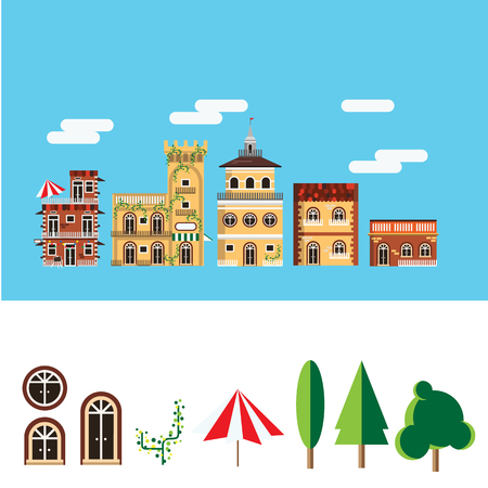 Landscape of building in the city, flat icon
