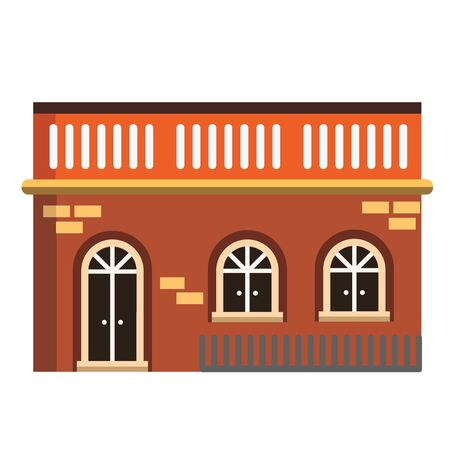 Design of house in city town flat icon vintage building