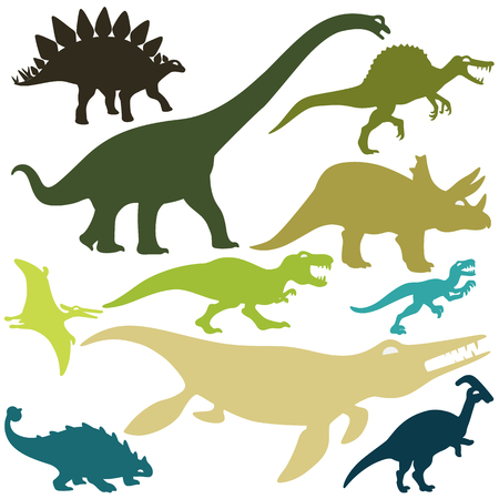 Set of dinosaurs design isolate vector flat icon 일러스트