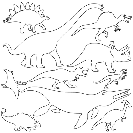 Set of dinosaurs design isolate vector flat icon 向量圖像