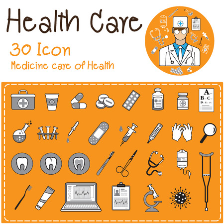 set of health care medicine flat icons illustrator vector