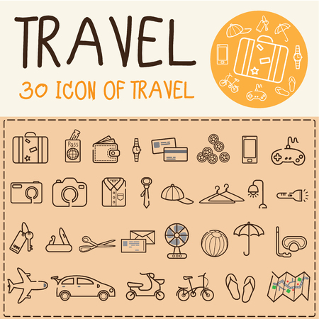 set of travel flat icons illustrator vector