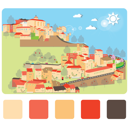 City on hill downtown lanscape illustrations vector design