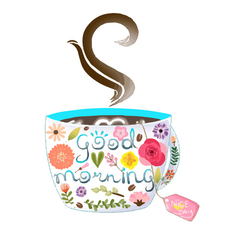 A Cup of coffee with flower design vector 일러스트