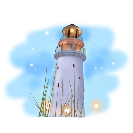 Lighthouse digital drawing water color style vector
