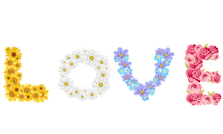 Colorful of Flowers spelling love alphabet vector design