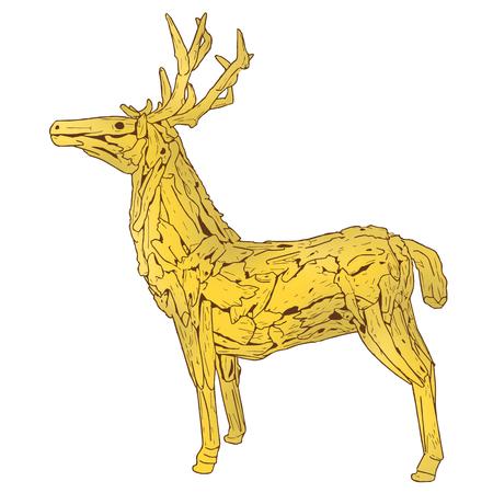 Wood dear illustration artwork isolate on white vector