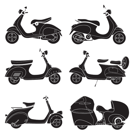 Set of motorcycle vector design flat icon 일러스트