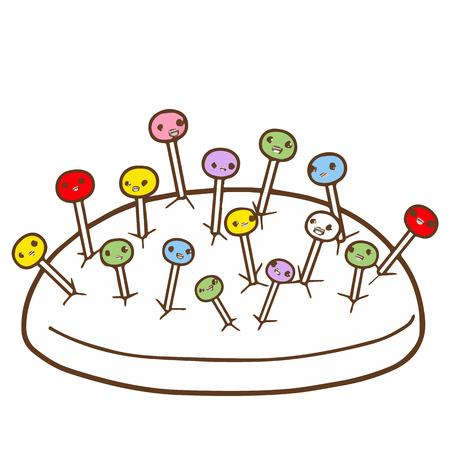 Cute sewing pin cartoon character vector design