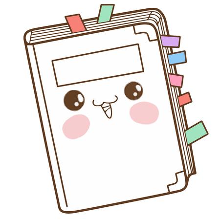 Cute notebook cartoon character vector design Illustration