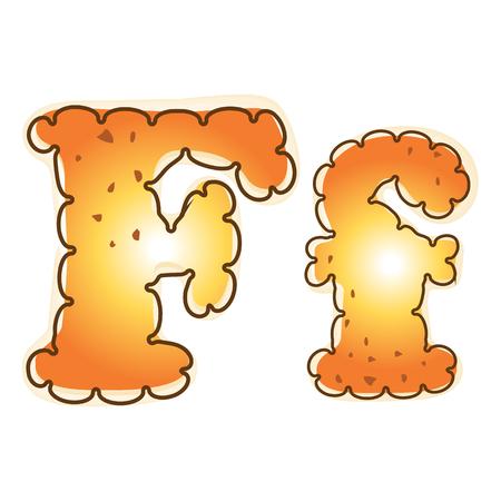 Biscuit cookie alphabet a-z vector design.