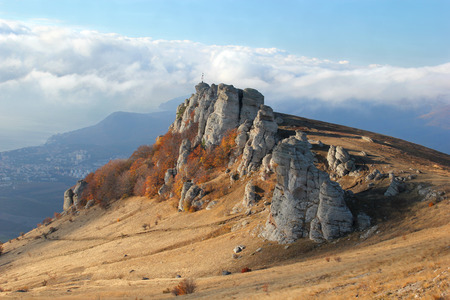 autumn mountain landscape rock slope of the valley