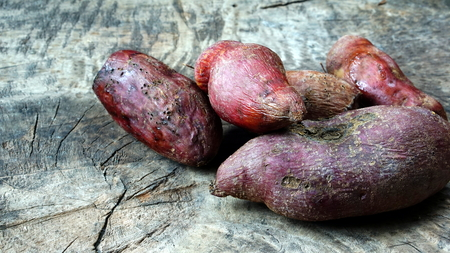 Sweet potato. The edible tuberous root is long and tapered, with a smooth skin whose color ranges between yellow, orange, red, brown, purple, and beige.