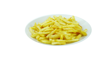 French fries, chips or finger chips are served hot, either soft or crispy, and are generally eaten as part of lunch or dinner or by themselves as a snack Stock Photo