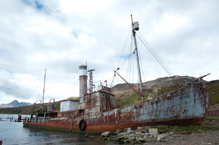 whaling: Old rusty whaling ship, British island of South Georgia, Antarctica