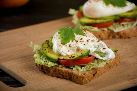 poached: Healthy sandwiches for the breakfast with avocado and poached egg