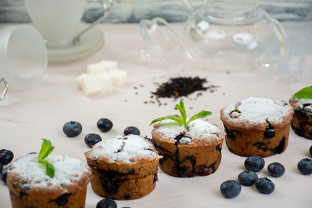 Vegan blueberry muffins with powdered sugar, mint leaves and fresh bluberries Stock Photo