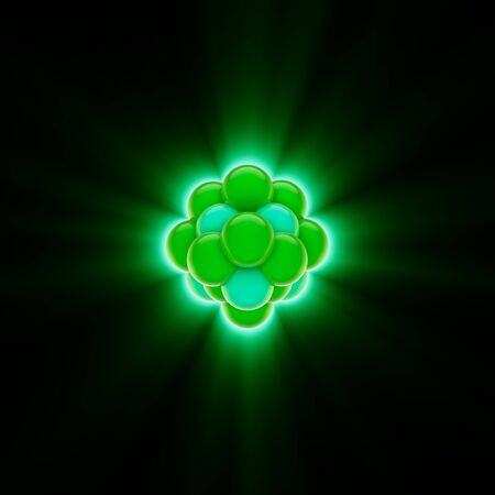 3d render of a green nucleus