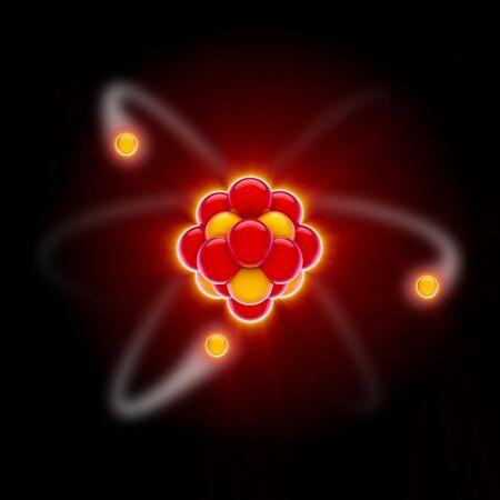 3D render van een rode kern met het cirkelen van elektronen