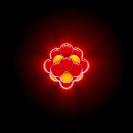 3D render uit een rode kern Stockfoto