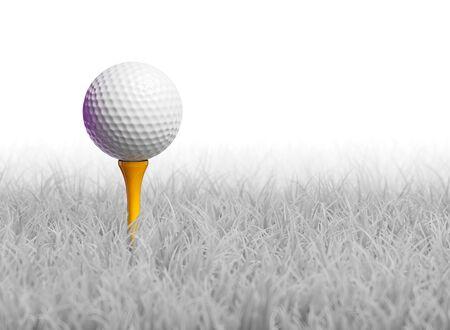 3D render van een golfbal op tee in witte gras veld