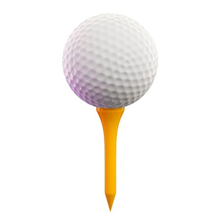 3d ball: 3d render of a golf ball on tee Stock Photo