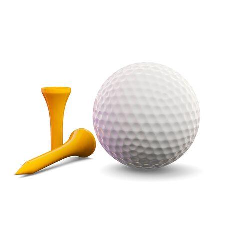 3D render van een golfbal met tees
