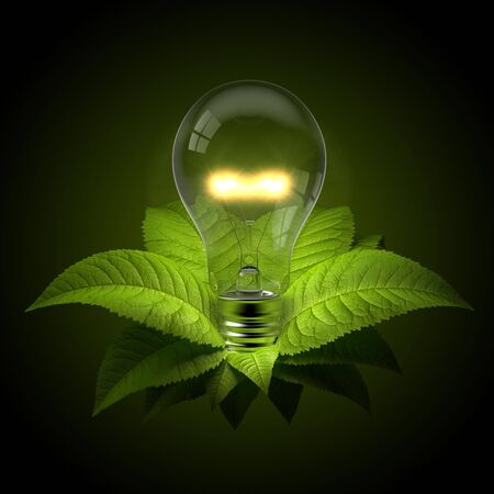 3d render of a glowing light bulb with leafs
