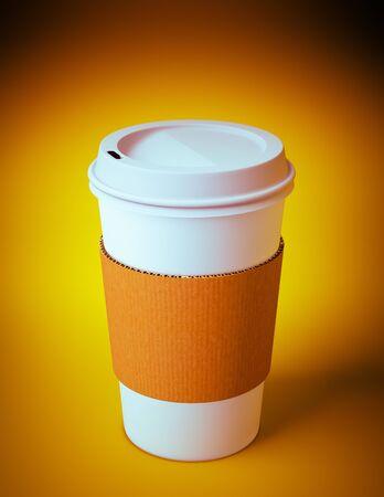 3D render van een wegwerp coffee cup op oranje achtergrond