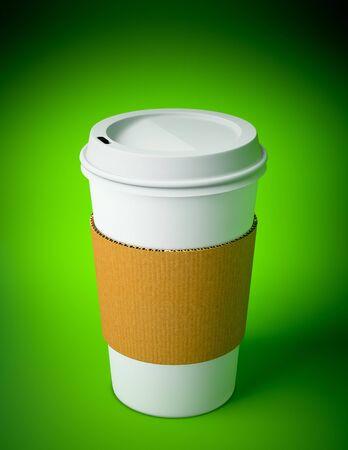 3D renderen van een wegwerp coffee cup op groene achtergrond Stockfoto