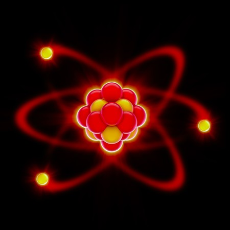 3d render of a glowing  red nucleus with circling electrons Stock Photo