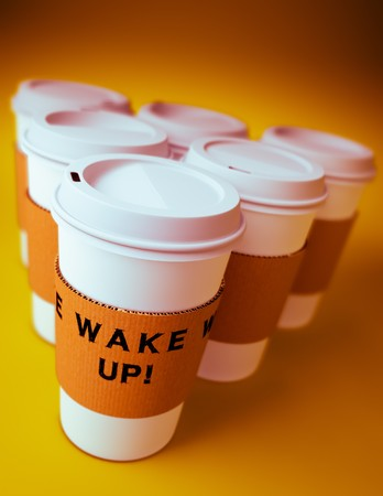 3D render of a group of disposable coffee cups