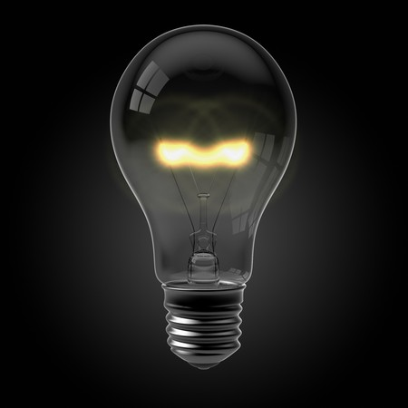 3d render of a glowing light bulb on black Stock Photo