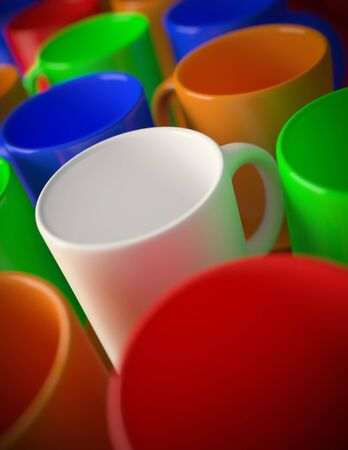 3D render of a multi colored mugs Stock Photo