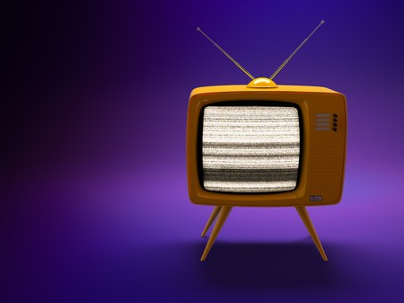3D render of a old fashioned TV set on purple background