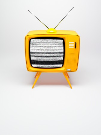 3D render of a old fashioned TV set on white photo