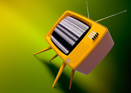 緑の背景に設定、昔ながらのテレビの 3 D レンダリング 写真素材 - 7878618