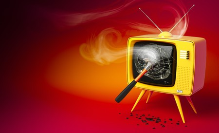 smashed: 3D render of a old fashioned TV set with shattered display Stock Photo