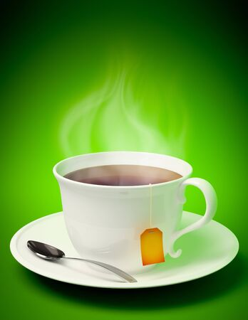 3D render of a tea cup with spoon and vapor coming out on green background