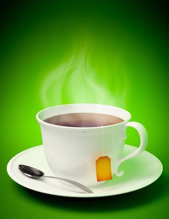 3D renderen van een kopje thee met lepel en damp komt uit op groene achtergrond