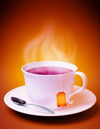 3D render van een kopje thee met lepel en damp coming out op oranje achtergrond